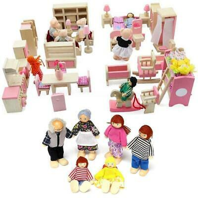 Kid Pink Wooden Furniture Dolls House Miniature 6 Room Set Doll For Xmas JD