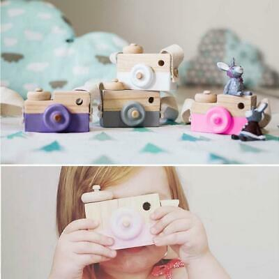 Kids Cute Wood Camera Toy Xmas Children Room Decor Natural Safe Wooden Camera JD