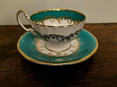 Aynsley England Footed Bone China Tea Cup & Saucer Teal Blue and Gold.