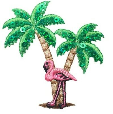 Flamingo Bird with Palm Tree and Island Iron on Applique patch