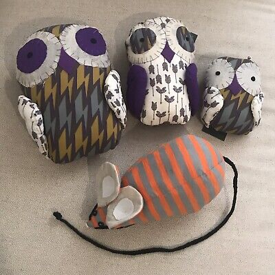 Brand New Karen Walker Fabric Plush Owls And Mouse For Decoration And Kids $480