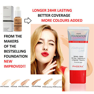 PHOERA Liquid Foundation Full Coverage Velvety Matte lasting Make up New RY