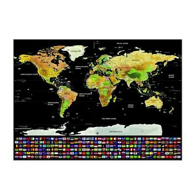 Scratch Off World Map Journal Travel Log Map Of The World Poster Home Decor NEW