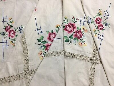 Large Vintage Cross Stitch Embroidered Tablecloth - Rose Panel Crocheted Border