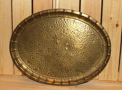 Antique hand made ornate brass serving tray