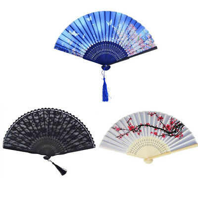 East Asia Style Hand Held Fan Bamboo Paper Folding Fan Party Show Decor Gift