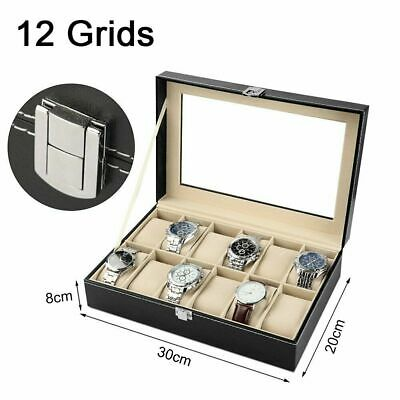 12 Grids Watch Winders Box Leather Jewelry Display Storage Holder Case Organizer