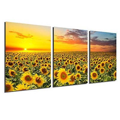 Sunflower Canvas Print Wall Art - Sunset Landscape Pictures Modern Painting Home