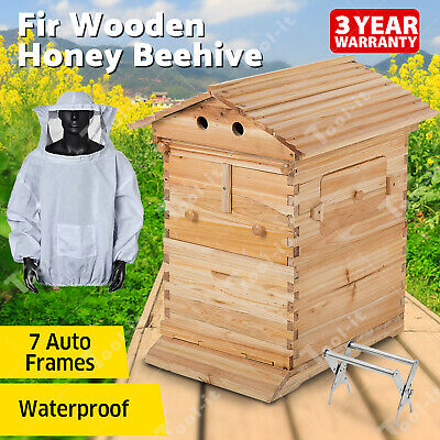 Wooden Beekeeping Beehive Brood House Box +7 PCS Auto Bee Comb Hive Frames OZ
