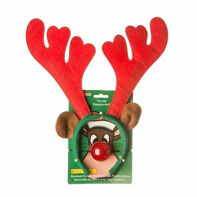 Womens Reindeer Antlers Headband With Flashing Nose Ladies Xmas Party Accessory