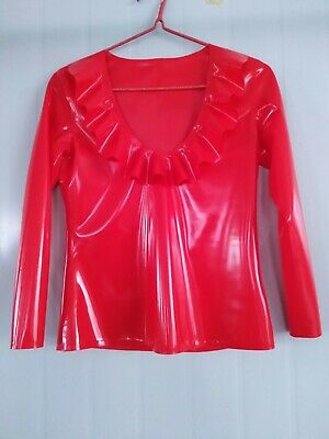 Rubber 100% Latex Red Women Long Slevees Low Chest Tight Top 0.4mm Size S-XXL
