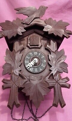 Vintage Cuckoo Clock Complete Runs Okay Needs Final Tweek 10.5 Inches High 27 Cm
