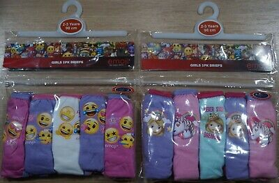 EMOJIS 100% Cotton Girl's Briefs/Knickers x 10 Pairs NEW Sizes 2-8 Years