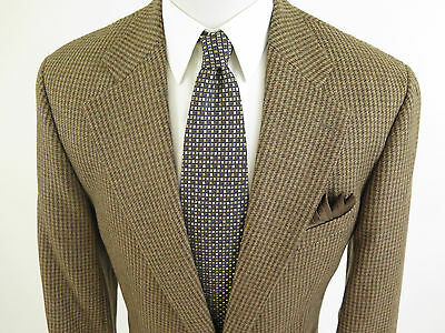Polo Ralph Lauren Men's Wool Alpaca Brown Houndstooth Blazer Sport Coat 44 L EUC