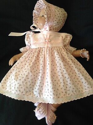 "Pretty In Pink Floral Dress Set To Suit 20 - 21"" Reborn"