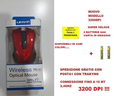 Mouse Ottico Senza Fili Wireless Usb Per Notebook Pc Computer 1600 Dpi 2,4G