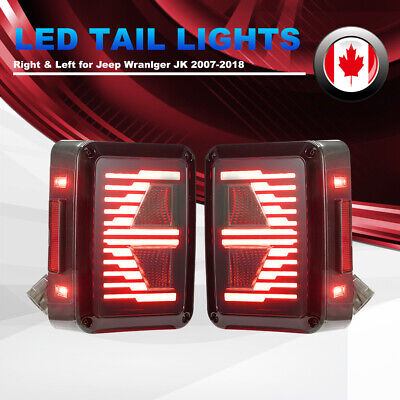 2 Pcs LED Tail Lights Turn Signal Reverse Brake Light for 07-18 Jeep Wrangler JK