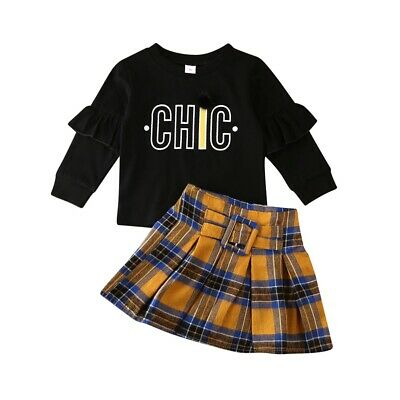 Toddler Kids Baby Girls Clothes Long Sleeve Top Sweatshirt Plaid Skirt Outfit UK