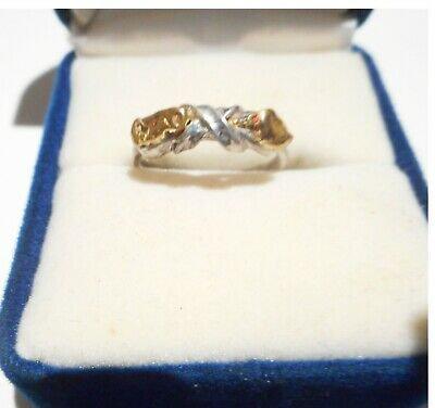 2 Genuine Australian Gold Nuggets On A Sterling Silver Ring No 50