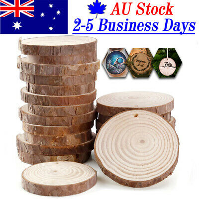 50x Natural Wood Slices Round Disc Tree Bark Log Wooden Circles for DIY Craft AU