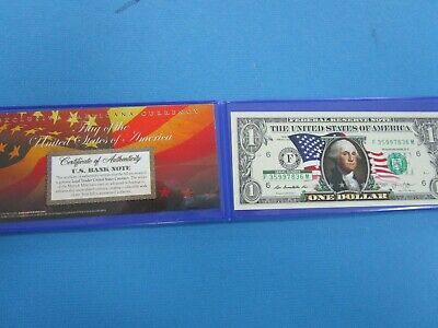 USA Colorized ONE  Dollar Collectors Note ' New Flag Unc