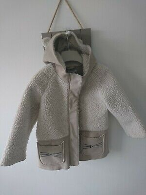 Next girl shearling coat faux fur 2-3 years VGC