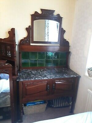 Beautiful Large Antique Marble Top Wash Stand With MIRROR