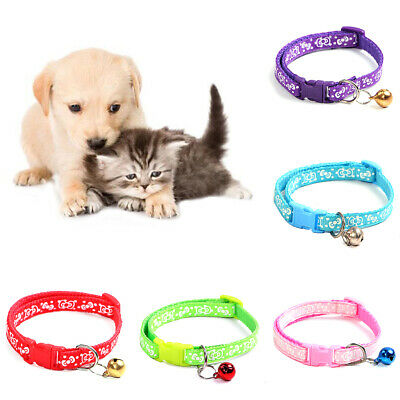 SN_ Pet Dog Puppy Collar Adjustable Buckle Bell Anti-lost Neck Strap Beamy
