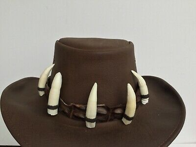 Genuine crocodile leather hat band Australian made CITES 5 jumbo teeth