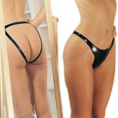 Black Latex Open Back Panty Rubber Thong Gstring Knickers Next Day Delivery Sml