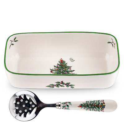 Spode Christmas Tree Cranberry Bowl with Slotted Spoon