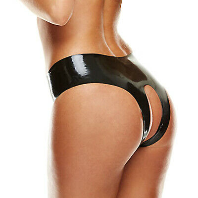 Black Latex Crotchless Panty Rubber Thong Gstring Knickers Nextday Delivery Sml