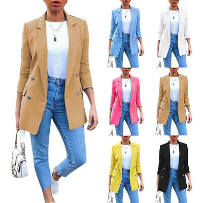 Sn_ Womens Long Collar Blazer Suit Jacket Ladies Slim Coat Cardigan Outwear St