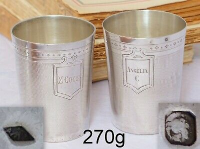 OMG PAIR Antique French Sterling Silver Wine Tumbler Timbale Medallion Guilloche