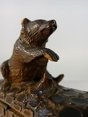 """1880 Antique French Black Forest Hand Carved BOX RARE pattern Jewelry 5"""""""