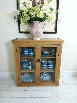Victorian Pine & Glass Study Bookcase  Cupboard Cabinet Freestanding kitchen