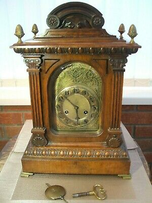Jungans / Art Nouveau Design / Large Mahogany Bracket Clock