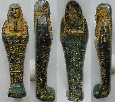185mm Egyptian Ushabti Royal Funerary Faience Glazed Shawabti Hieroglyphs Statue