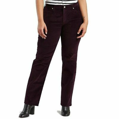 Levis Womens Plus Size 24W Purple Corduroy Straight Mid Rise Stretch Pants NEW