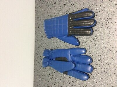 Vintage 1970s blue and black gloves size M/L - Rare find ! Made in Hong Kong