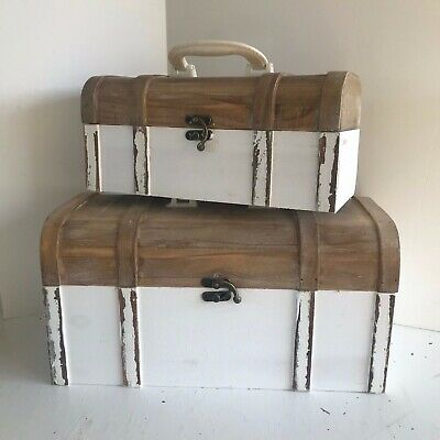 Shabby Chic Wooden Storage Cases / Boxes  Painted a Soft White
