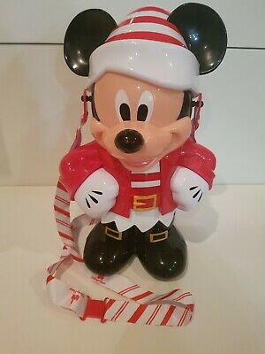 Disney Parks 2019 Christmas Holiday Santa Mickey Elf Souvenir Popcorn Bucket