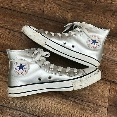 quality products many fashionable watch SIZE UK 6 Converse All Star Silver Leather Ankle Boots ...