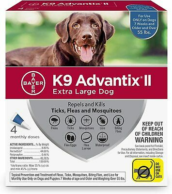 K9 Advantix II for  Extra Large Dogs over 55 lbs - 4 Pack - New Boxes!
