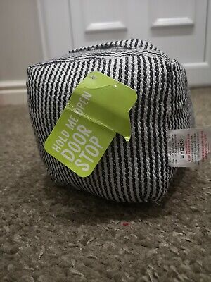 Blue/White Stripey Door Cube Stop With Handle. Bnwt