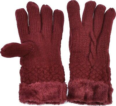 Women's Knitted Gloves Solid Cable Faux Fur Cuff/Lined Cozy Warmth Burgundy