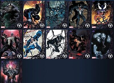 Topps Marvel Collect Card Trader  TOPPS SHOWCASE VENOM Complete 10 Card Set