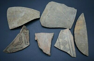 Mixed lot of 6 ancient Bronze Age Indus Valley culture pottery fragments