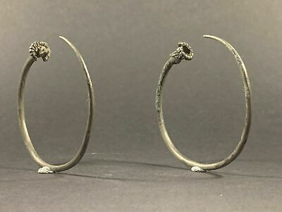 Rare To Get A Pair - Ancient Viking Norse Solid Silver Earrings Circa 800-900 Ad