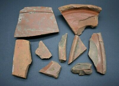 Group of 10 ancient Roman samian ware fragments C. 1st century AD - British find